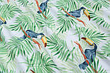 """Ткань хлопковая """"Большие туканы на зелёных пальмовых ветках"""" на белом (№1815а), фото 4"""