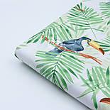 """Ткань хлопковая """"Большие туканы на зелёных пальмовых ветках"""" на белом (№1815а), фото 7"""