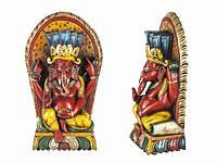 Статуя. Деревянная Резная. Непал. Будда. Возлежащий на троне (50*20*10см). Цветной