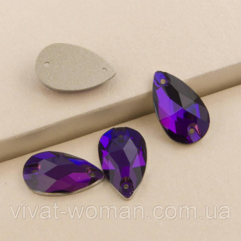 Стрази пришивні Копія Сваровскі, Крапля 11х18 мм Purple Velvet, скло