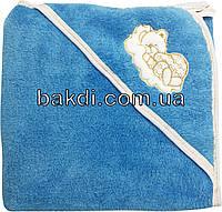 Детское полотенце-уголок после купания 80х90 махровое с капюшоном голубой хлопок 100% для новорожденного малыша мальчику А-750