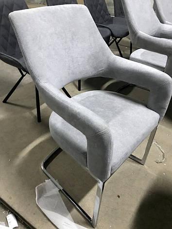 Стул обеденный мягкий с тканевой обивкой серого цвета на хромированных ножках Берналь   PRESTOL, фото 2
