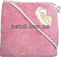 Детское полотенце-уголок после купания 80х90 махровое с капюшоном розовый хлопок 100% для новорожденного малыша девочке Р-750