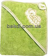 Детское полотенце-уголок после купания 80х90 махровое с капюшоном салатовый хлопок 100% для новорожденного малыша мальчику/девочке С-750