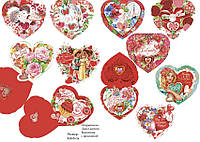 Валентинка 280116УКР Сердце на замочках 8,8х8,8см двойная с присыпкой MSU уп50 ящ3450 24вида