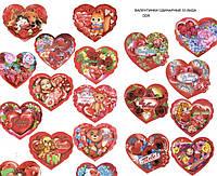 Валентинка ODR Сердце 8.5х7.5см одинарка с присыпкой и высечкой уп50 ящ7950 53вида РУС
