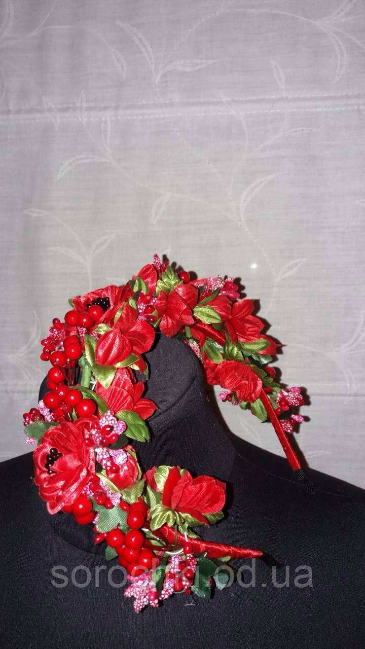 Обруч , женский для волос , пятиярусный под вышиванку красный