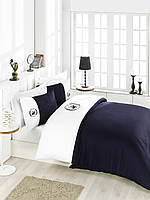 Постельное белье Beverly Hills Polo Club сатин White Dark Blue Dark Blue евро BHPC 106