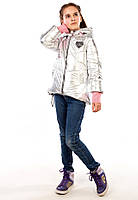 """Серебряная,золотая  весенняя Демисезонная куртка-жилетка для девочки """"Санта"""", фото 1"""