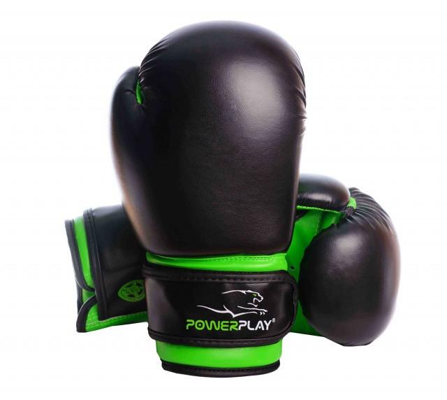 Перчатки боксерские Powerplay PU / 3004JR / black-neon green 6 oz