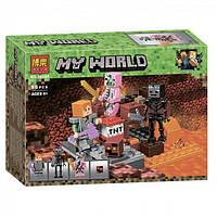 """Конструктор Bela 10808 """"Бой в Нижнем мире"""" (аналог Lego Майнкрафт, Minecraft 21139), 96 деталей"""