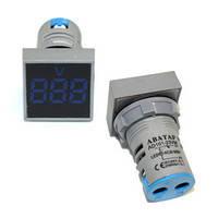 Вольтметр врезной AD101-22VM LED AC20-500V голубой ST 880BL, фото 1