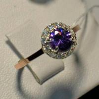 Серебряное кольцо с золотыми накладками с аметистом и фианитами 050