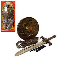 Набір лицаря 63584 меч, щит, рукавичка, на листі, 28,5-62,5-4,5 см