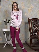 Трикотажная женская пижама c мишкой