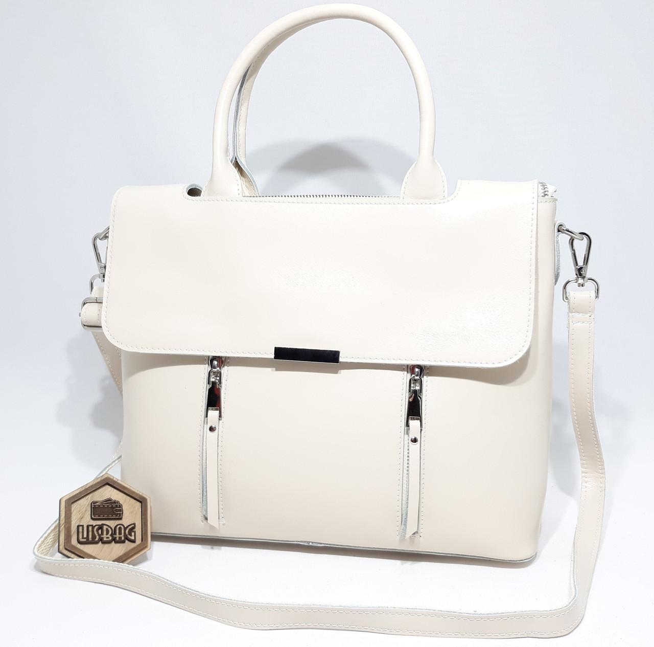 15aa0750cd65 Большая кожаная женская сумка Galanty из плотной кожи, Бежевая (молочная)