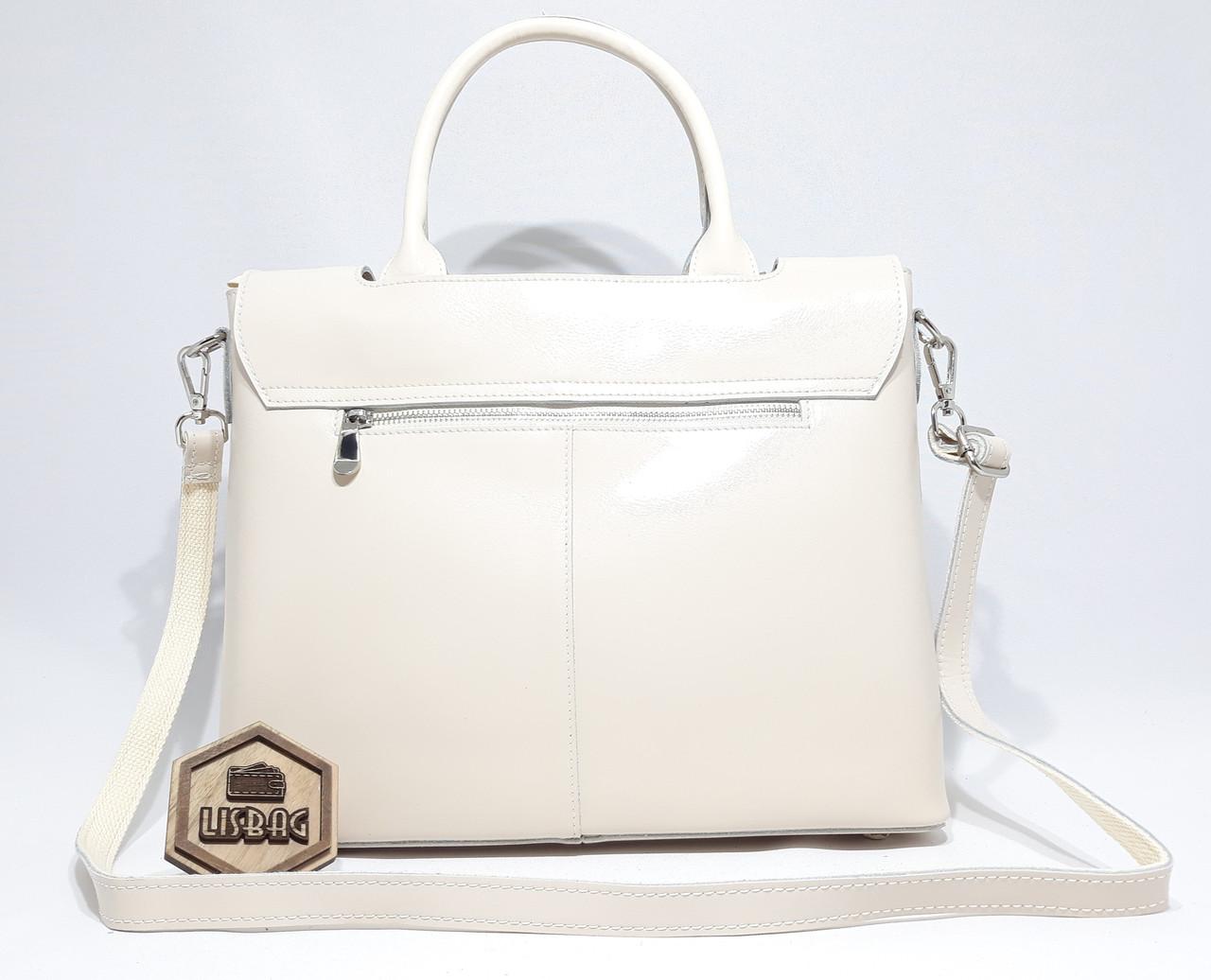 9fe94583d3ad ... Большая кожаная женская сумка Galanty из плотной кожи, Бежевая  (молочная), фото 10