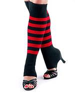 Гетры короткие  (40 см) для танцев Rivage Line сатин, черный с красным