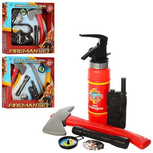 Набор пожарника XY801-02-03 (32шт) топор.фонарь,рация,3вида(огнетуш,маска,лом), в кор-ке, 32-32-6см