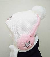 Детский зимний комплект. Детская зимняя шапка с наушниками и шарфик для девочки  Тёплая шапка на флисе