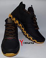 Мужские зимние кожаные ботинки, черные, прошитые с желтыми и серыми резинками