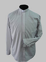 Рубашка для священников  светло-серого цвета с длинным рукавом, фото 1