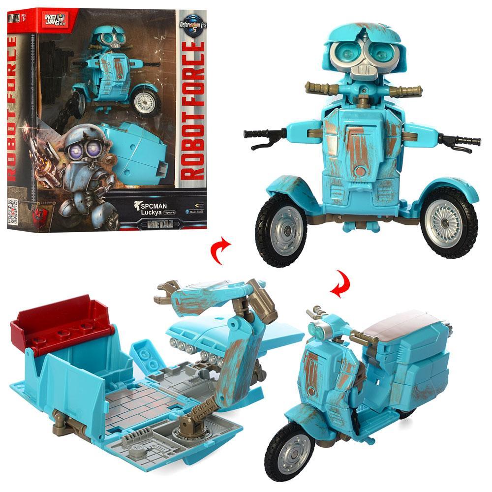 Трансформер J8075 (18шт) металл, 12см, робот+транспорт, в кор-ке, 22-27-10см