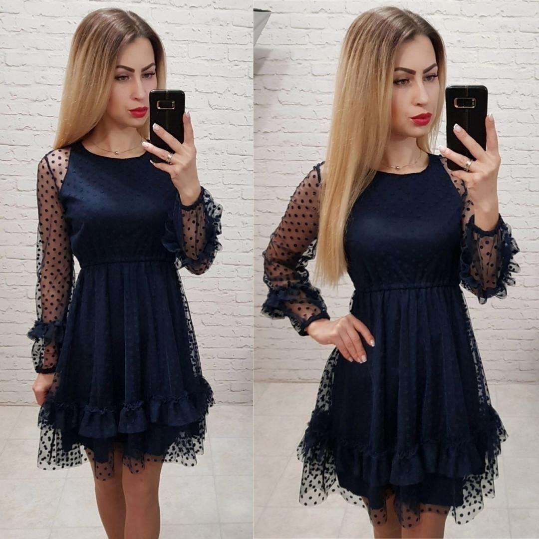 Темно-синее платье с сеткой
