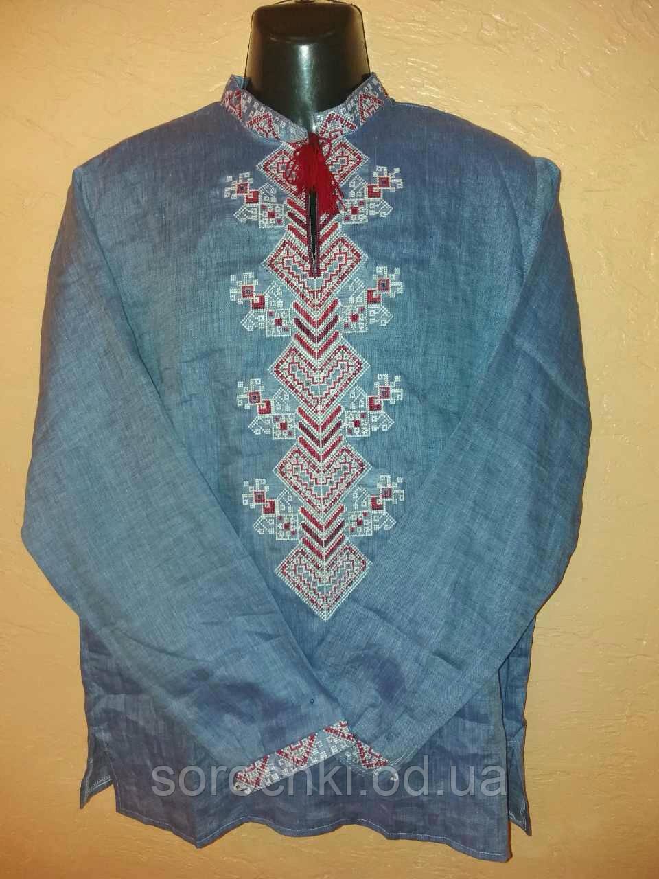 """Вышиванка мужская , длинный рукав , цвет джинс , лен , орнамент """"Берегиня"""""""