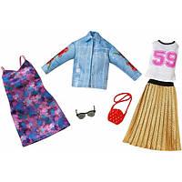 Барби Одежда  Barbie Fashion Trucker Jacket & Pleaded Skirt Fashion, 2 Pack