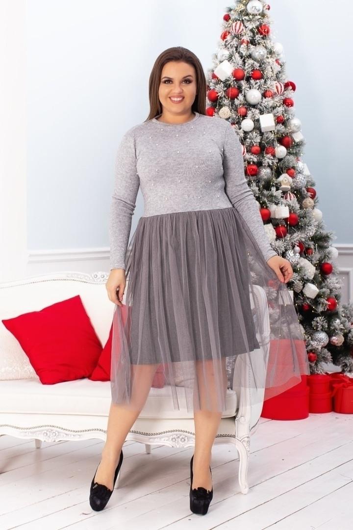 Трикотажное платье большого размера с фатином