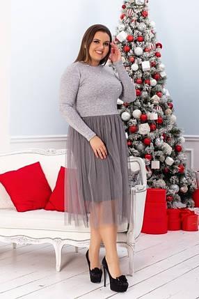 Трикотажное платье большого размера с фатином, фото 2