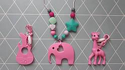 Силиконовые слингобусы с прорезывателем - Розовый