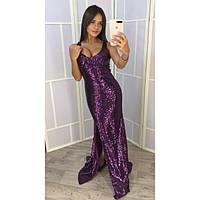 Платье длинное женское блестящее 8061-3