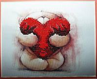 Набор для частичной вышивки бисером. Тедди. Открой свое сердце.