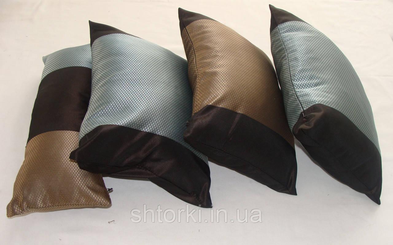 Комплект подушек Бирюза с коричневым 4шт
