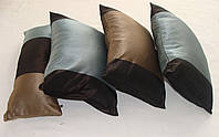 Комплект подушек Бирюза с коричневым 4шт, фото 1