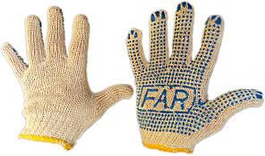 Перчатки х\б рабочие FAR с ПВХ точкой (упаковка 12 пар)