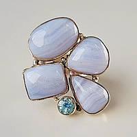 Крупное оригинальное кольцо с голубым  агатом и топазом. Серебро. Индия