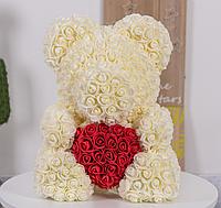 Мишка Teddy de Luxe из 3D роз с сердцем в подарочной коробке, 40 см, шампань..