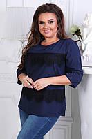 Женская блузка с коротким рукавом. 52-54-56рр. Синяя. Софт-котон, фото 1