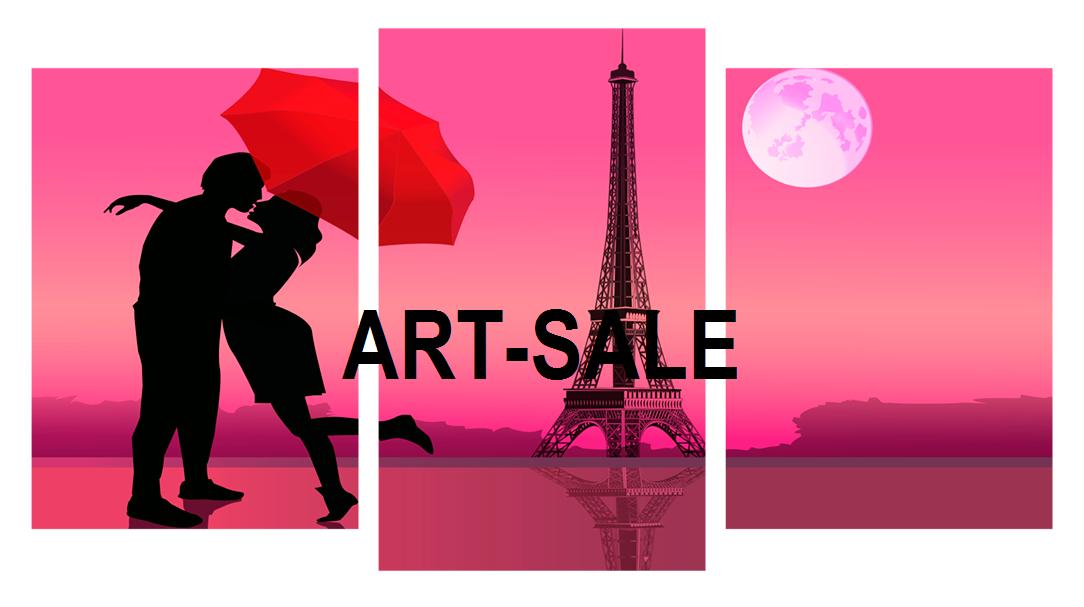 Модульная картина Париж любовь