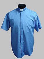 Рубашка для священников  темно-голубого  цвета с коротким рукавом