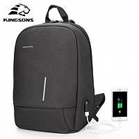 Городской рюкзак слинг для ноутбука KINGSONS мужской рюкзак на одно плечо.