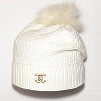 e021018ce Брендовая женская вязаная шапка с бубоном Chanel белая теплая красивая  шапочка новинка шерсть Шанель реплика