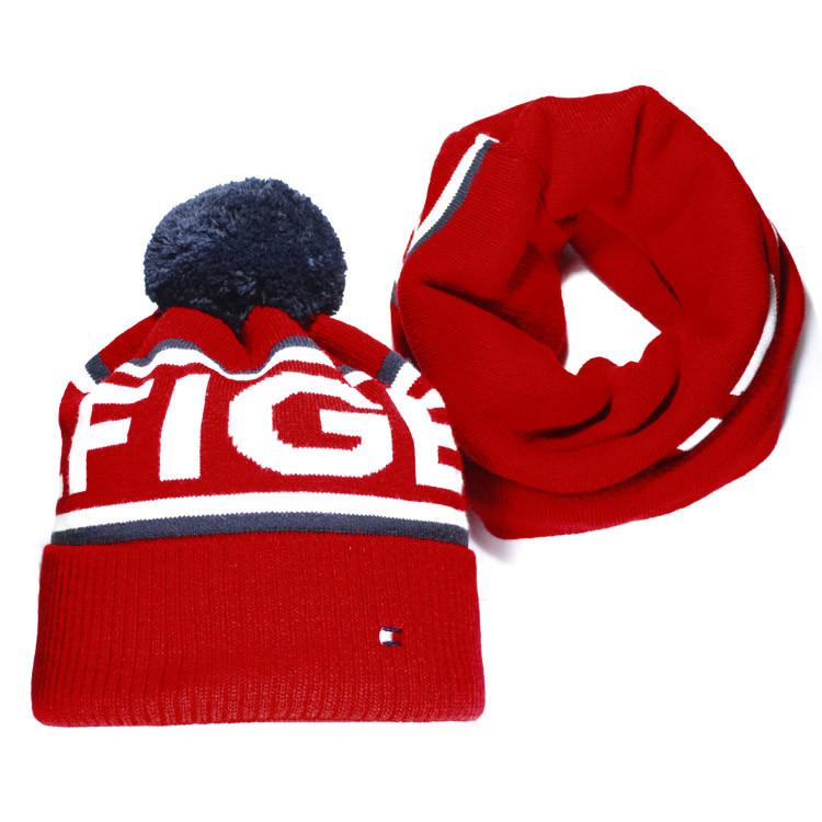 Мужской комплект набор вязаная шапка с бубоном и хомут шарф Tommy Hilfiger  красный Томми Хилфигер реплика 2d7114bc07b27