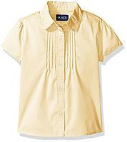Рубашка с коротким рукавом для девочки в школу желтого цвета Childrensplace