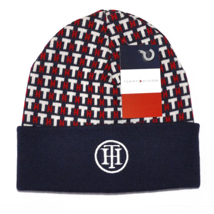 Молодежная мужская вязаная шапка Tommy Hilfiger темно-синяя шерстяная  красивая трендовая демисезонная реплика - Buy 5279e98a4872a