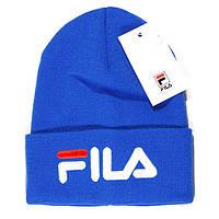 Брендовая мужская вязаная шапка Fila синяя синяя яркая модная шапочка  зимняя унисекс Фила качественная реплика 1d380e76e3c20