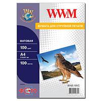Фотобумага wwm матовая 100г/м кв, a4, 100л (m100.100/c)